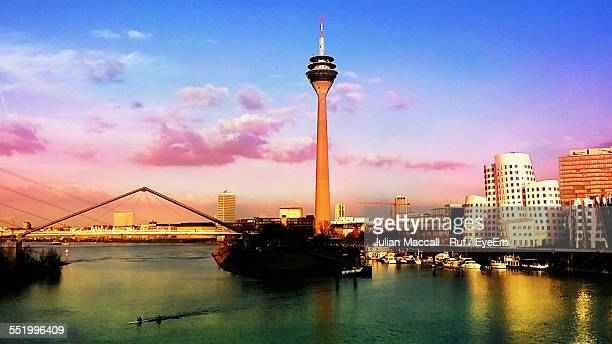 View Over River Rhine To Media Harbor With Rheinturm