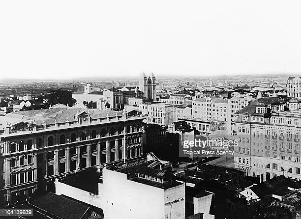 A view over Sao Paulo Brazil with the new post office building to the left August 1924