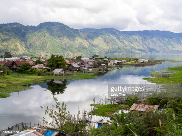 TAKENGON SUMATRA INDONESIA A view over small back yard fish farms in Takengon a small town beside a mountainous natural lake known for it's coffee...
