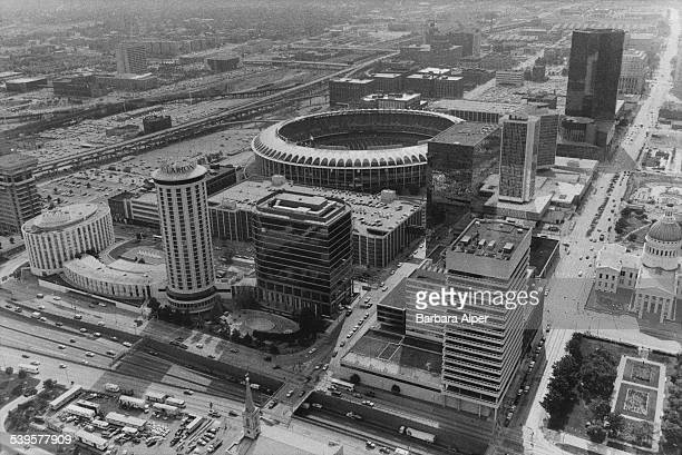 A view over St Louis Missouri showing the Busch Stadium in the centre and the Old Courthouse on the right 30th June 1987