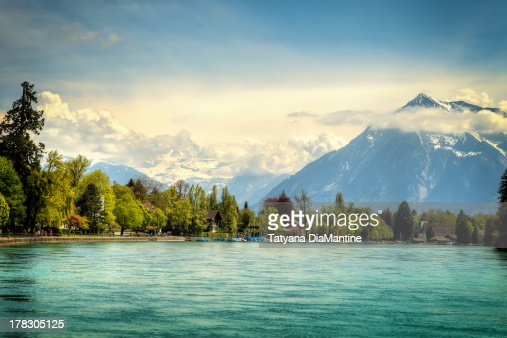 View over the Alps in Thun, Switzerland