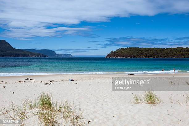 View over the beach and bay near Port Arthur with Cape Pillar part of the Tasman National Park in the background