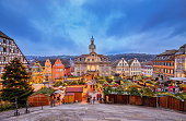 View over the Christmas Market on the Town Hall of the historic center of Schwäbisch-Hall
