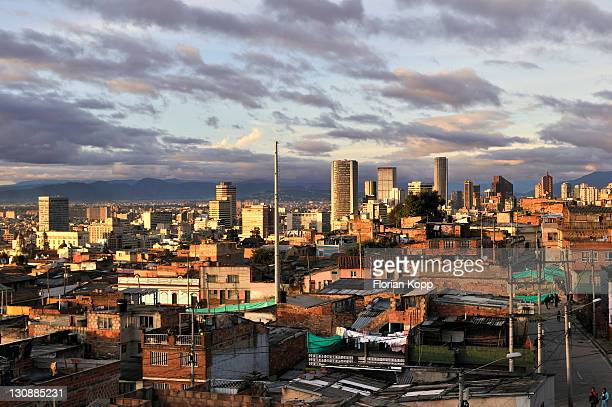 View over the city centre in the evening light, Bogotá, Colombia, South America