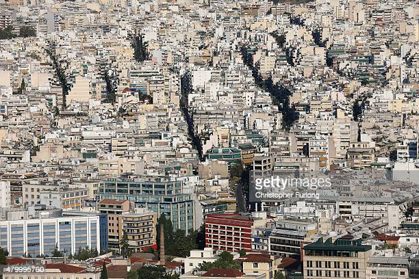 A view over the city of Athens from Lycabettus Hill on July 8 2015 in Athens Greece Eurozone leaders have offered the Greek government one more...
