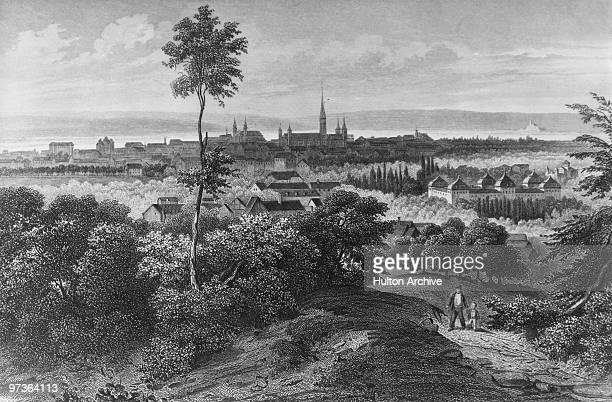 A view over the city of Bonn Germany circa 1850