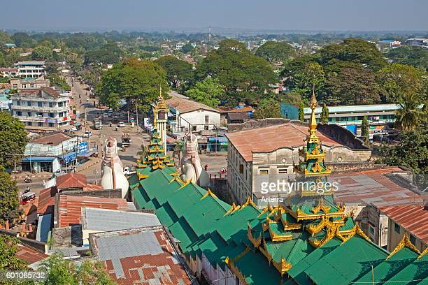 View over the city Pyay / Prome seen from the Buddhist Shwesandaw pagoda Bago Region Myanmar / Burma