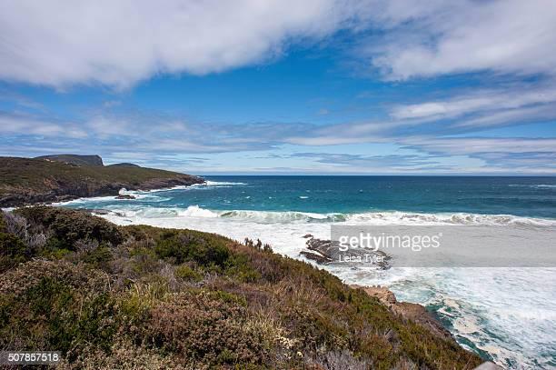 View over the coast and ocean near Remarkable cave near Port Arthur on the Tasman Peninsula in Tasmania