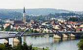 View over the Danube River towards Vilshofen, Parish Church of St. John the Baptist, Lower Bavaria, Bavaria, Germany, Europe, PublicGround