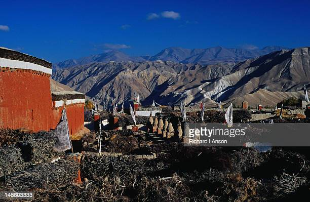 View over the flat rooftops of Lo Manthang, the capital of Upper Mustang, situated on a plateau at 3840m.