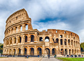 View over the iconic Flavian Amphitheatre, aka Colosseum in Rome, Italy