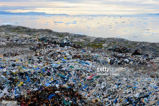 View over the garbage dump of Ilulissat and the Disko bay Greenland
