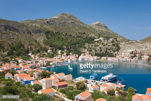 View over the harbour from hillside, Kastellorizo