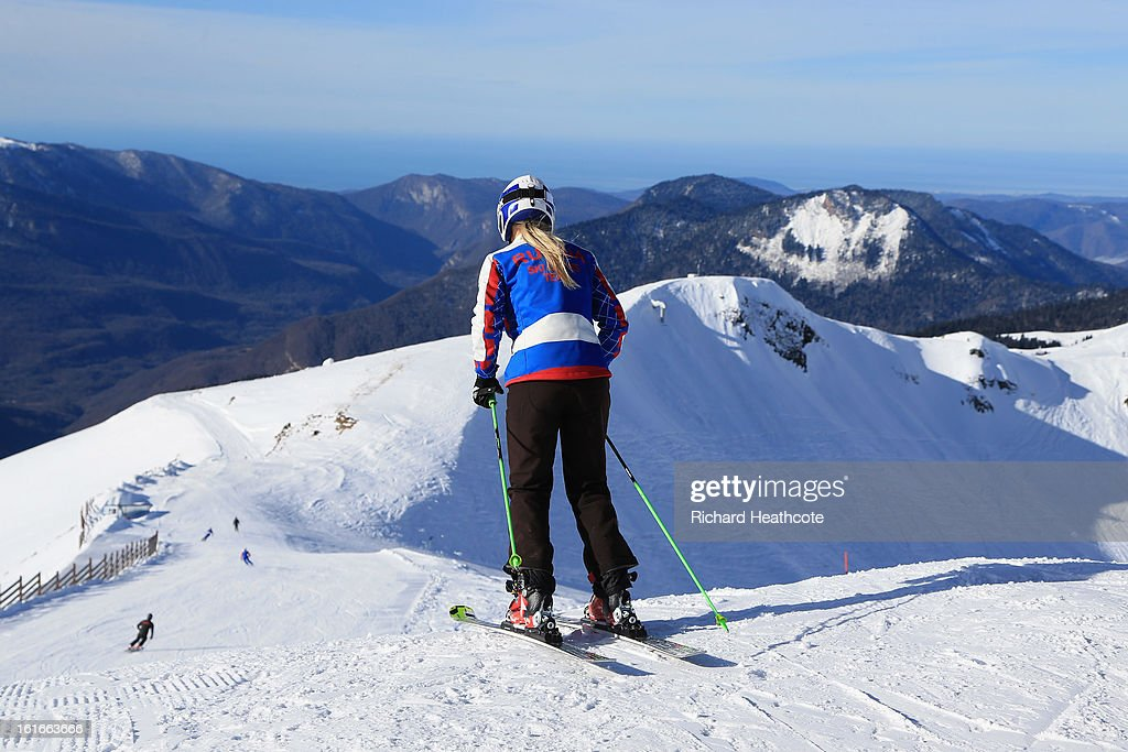 A view over the Krasnaya Polyana mountain range from the peak at the Rosa Khutor Alpine Ski Resort in Krasnaya Polyana on February 14, 2013 in Sochi, Russia. Sochi is preparing for the 2014 Winter Olympics with test events across the venues.