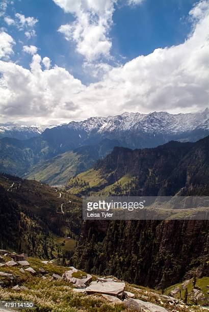 A view over the Kullu Valley from the LehManali Highway as it winds up the top of the Rohtang Pass in Himachal Pradesh India