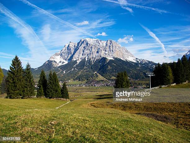 View over the landscape to the Zugspitze