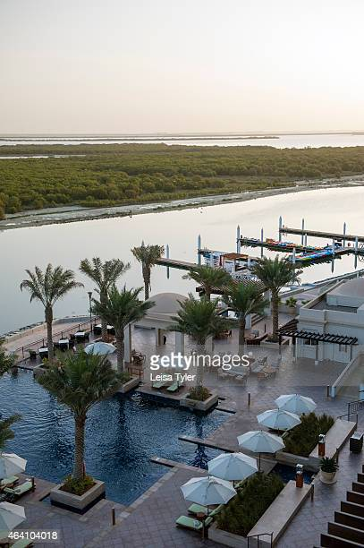 View over the pool area of the Anantara and the Eastern Mangroves View over the pool area of the Anantara Eastern Mangroves overlooking Abu Dhabi's...