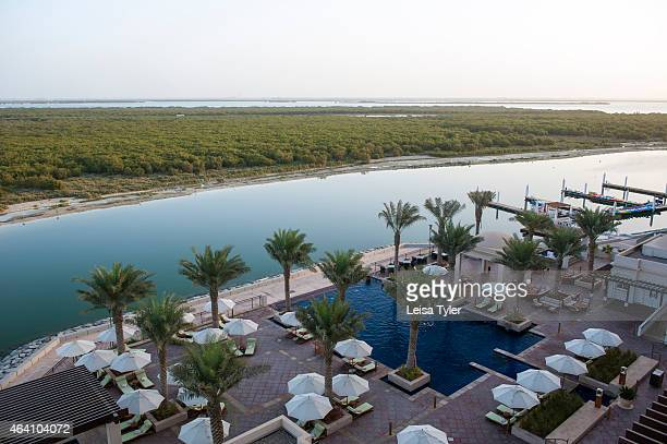 View over the pool area of the Anantara Eastern Mangroves View over the pool area of the Anantara Eastern Mangroves overlooking Abu Dhabi's Eastern...