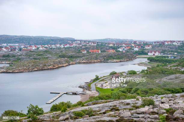 View over the popular holiday town of Smögen in West Sweden