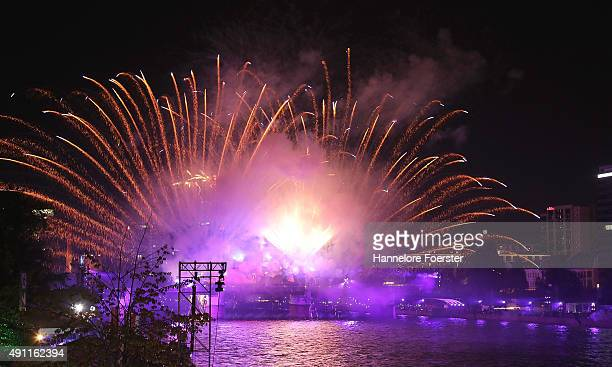 A view over the river Main where a light show and a firework are taking place for the 25th anniversary of German reunification on October 3 2015 in...