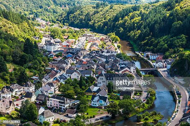 View over the river Our and the picturesque village of Vianden in Luxembourg