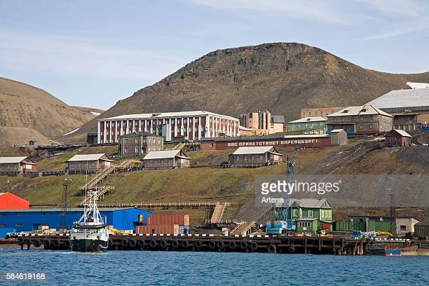 View over the Russian mining town of Barentsburg Svalbard Spitsbergen Norway