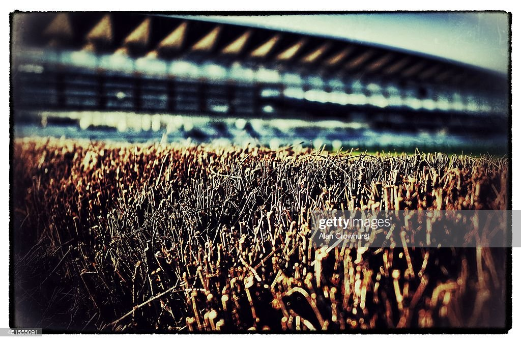 A view over the top of the birch from the last chase fence at Ascot racecourse on November 23, 2013 in Ascot, England.