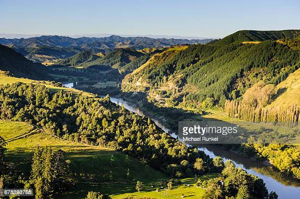 View over the Whanganui River in the lush green countryside, Whanganui River road, North Island, New Zealand, Pacific