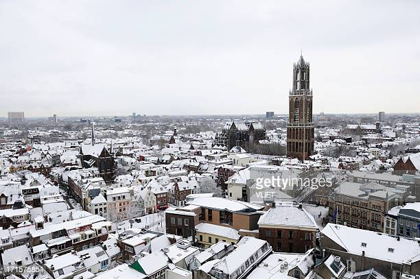View over Utrecht in winter with Dom church