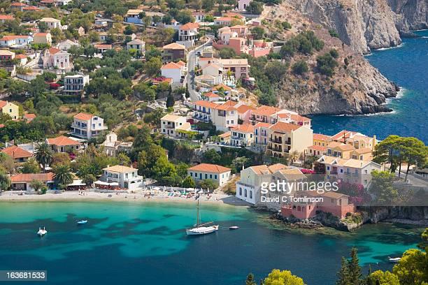 View over village from hillside, Assos, Kefalonia