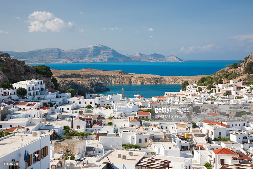 View over village rooftops, Lindos, Rhodes