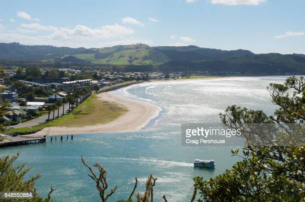 View over Whitianga Harbour to Whitianga town and Mercury Bay from Whitianga Rock Scenic and Historical Reserve.