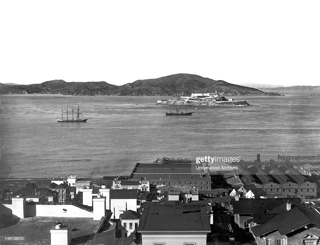 View overlooking Alcatraz Island and the northern waterfront San Francisco California early to mid 1900s