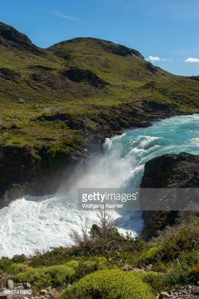 View Salto Grande waterfall in Torres del Paine National Park in southern Chile