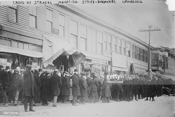 View showing a crowd of strikers during the Lawrence textile strike known as the Bread and Roses strike Lawrence Massachussetts 1912