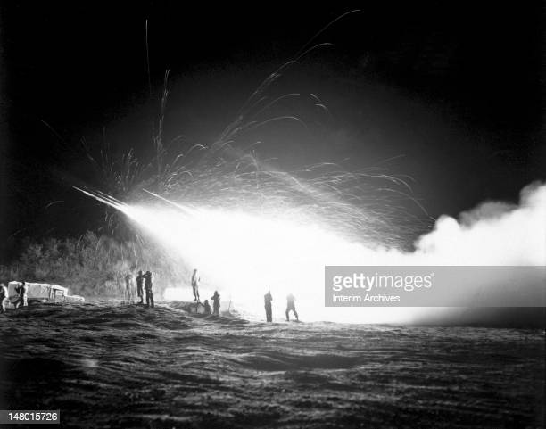 View showing a night mission of the First Rocket Battery 11th Marine Regiment firing rockets somewhere in the Marines front lines during the Korean...