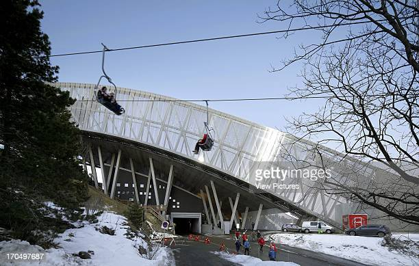 View showing ski jump plunge over a road Holmenkollen Ski Jump Ski Jump Europe Norway JDS Architects
