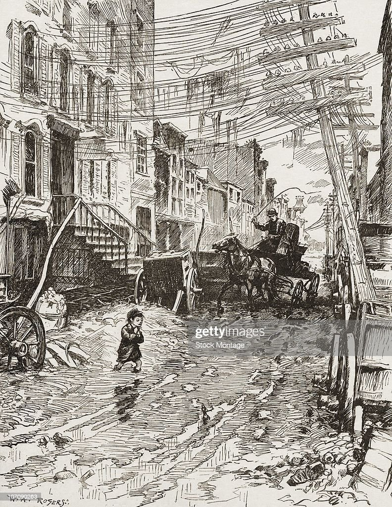 View showing slum conditions on an unidentified New York street circa 1881 Illustration by WA Rogers