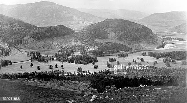 View showing the River Dee winding its way through the Aberdeenshire countryside near Braemar in Scotland Circa 1952
