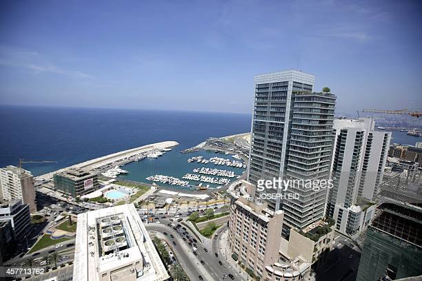 A view shows Moroe Hotel and Water Front city from the Holiday Inn hotel in Beirut on April 11 as the nation marks 39years since the outbreak of the...