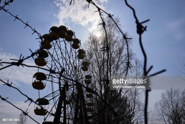 A view shows the amusement park in the Pripyat near the Chernobyl nuclear power plant in the Exclusion Zone Ukraine April 5 2017 The Chernobyl...
