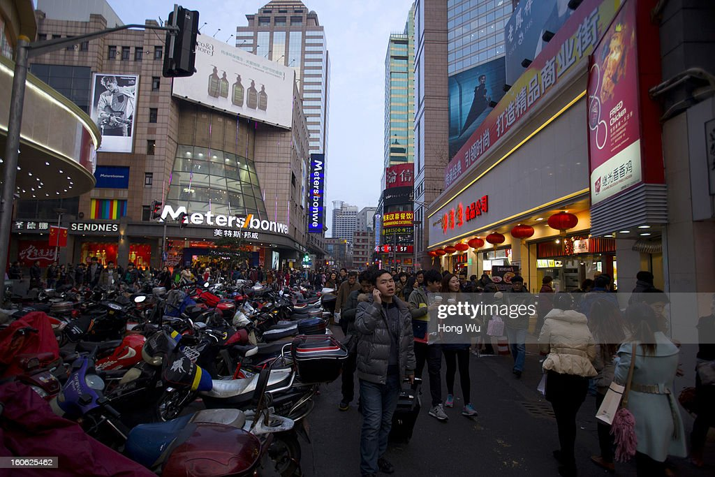 A view shows the Nanjing Road Walking Street on February 3, 2013 in Shanghai, China.