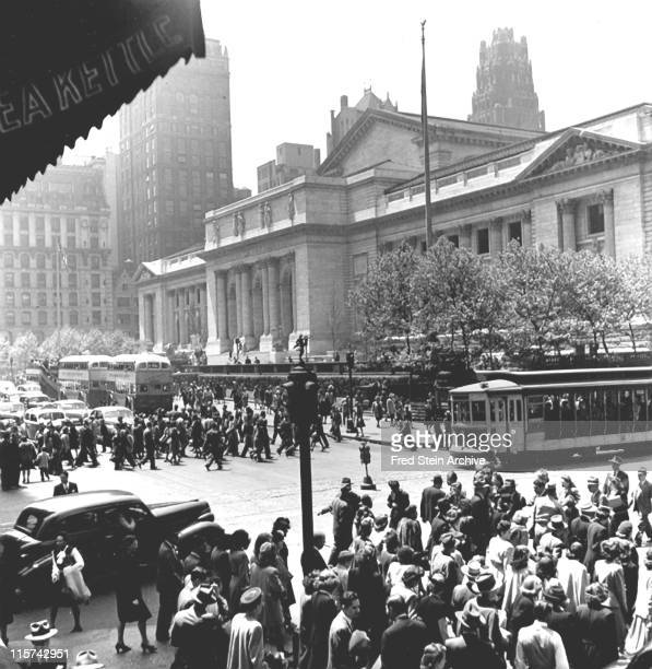 View south from the intersection of 42nd Street and 5th Avenue past the front of the New York Public Library's Main Branch building New York New York...