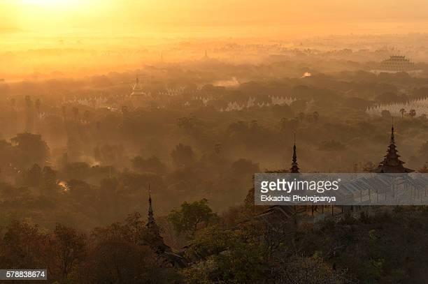 View sunrise from Sutaunppyei Pagoda ,Mandalay hill