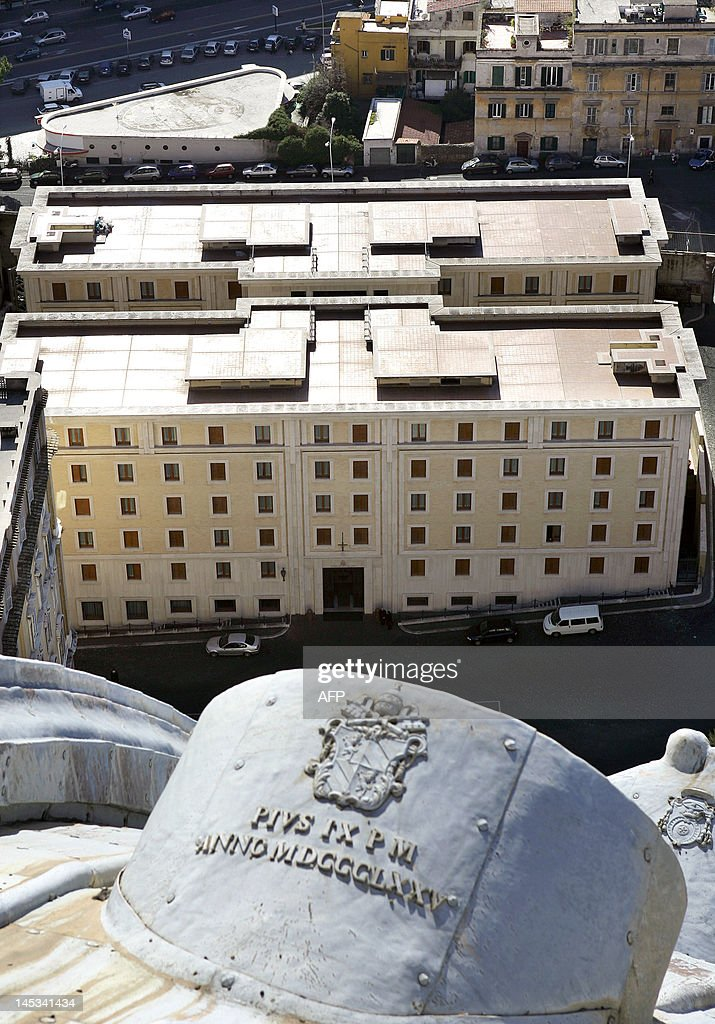 A view taken 04 February 2005 from the dome of Saint Peter's basilica shows Vatican's Santa Marta residence boasting 107 suites and 23 single rooms...