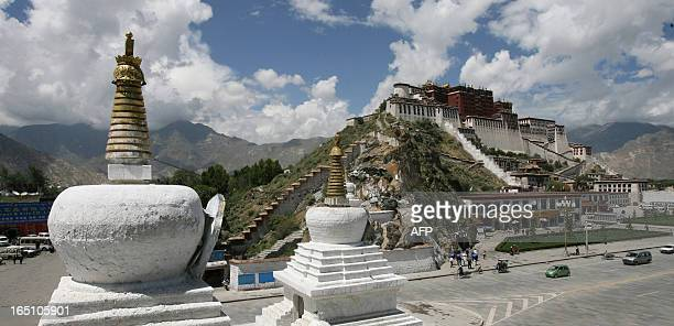 A view taken 07 July 2006 shows the World Heritage listed Potala Palace which used to be the seat of the Tibetan government and the winter residence...