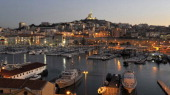 View taken at sunset on January 03 2013 of the 'VieuxPort' in the French southern city of Marseille one week ahead of the 2013 'MarseilleProvence...