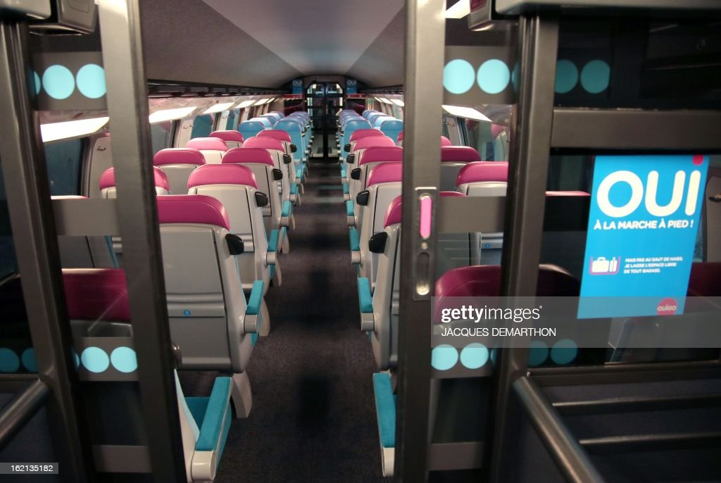 view taken inside of the new low cost tgv high speed train 39 ouigo 39 at pictures getty images. Black Bedroom Furniture Sets. Home Design Ideas