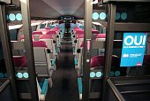 View taken inside of the new lowcost TGV highspeed train 'Ouigo' at the MarneLaVallee railway station ouside Paris on February 19 during its...