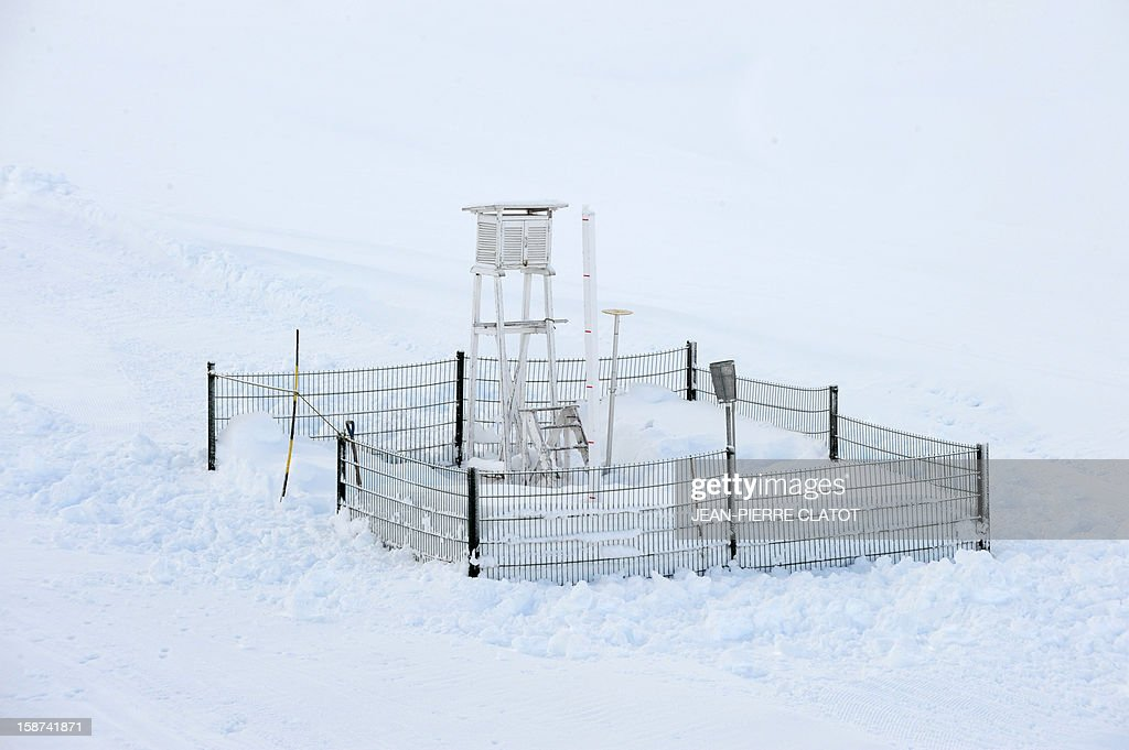 View taken of an altitude weather station on the Grand Montets' pistes in Argentieres near Chamonix, French Alps, on December 26, 2012. AFP PHOTO / JEAN-PIERRE CLATOT